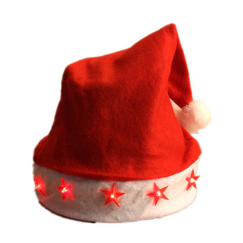adult kids red light up santa hat christmas hats with led lights