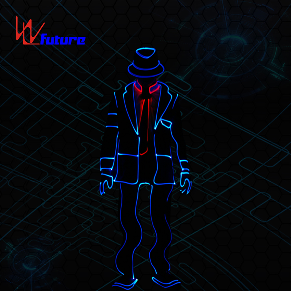 Fiber Optic Tron Dance Suits Michael Jackson dance costumes lighting up boys group dance clothes  glow in the dark dresses
