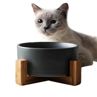 Wholesale Customized Colorful Fashion Ceramic Pet Bowl for Dogs and Cats with Bamboo Shelf Pet Water Food Feeder