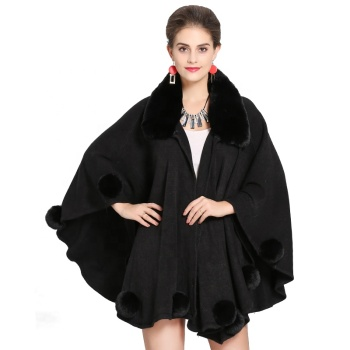 Factory Supply Women's Wool Faux Fur Poncho Winter Warm Capes Popular Soft Female Shawl