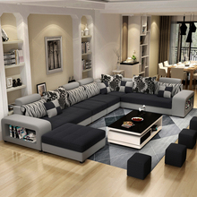 Luxury USB charging bluetooth sofas bed U shaped sectional <strong>Furniture</strong> 7 Seater modern European fabric Living Room sofas set