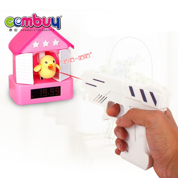 Novelty cartoon design bird light music shooting target gun alarm clock