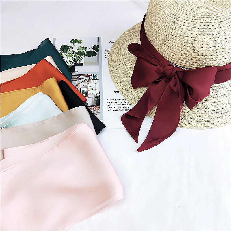 Wholesale Fashion Solid Color Imitated Silk Small Skinny <strong>Scarves</strong> Headwear Handle Bag Ribbon Hair <strong>Scarves</strong>