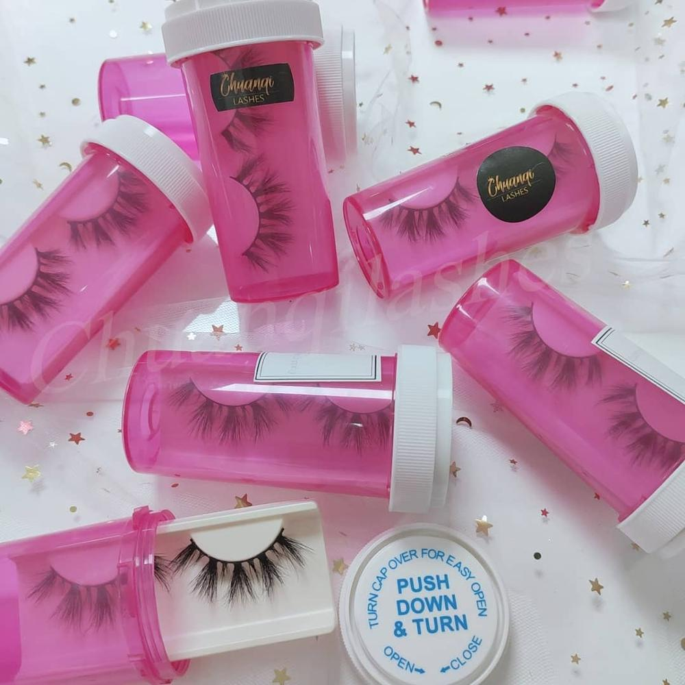 unique lash packaging <strong>pill</strong> bottle for big fluffy dramatic wispy mink eyelashes 20mm