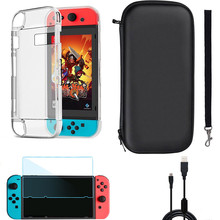4 in 1 Accessories For Nintendo Switch Carrying <strong>Case</strong>+Charging Cable+Protective <strong>case</strong>+Shell <strong>Cover</strong>+Tempered Glass Screen Film