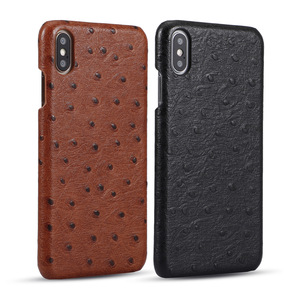 Luxury High Quality Ostrich Pattern Cover Genuine Cowhide Leather Cell Phone Case For iPhone XS XR XI