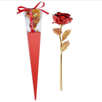 Mothers day gift Wholesale long stem Wedding decoration artificial flower Valentine's day gift 24k gold rose 24k gold foil rose
