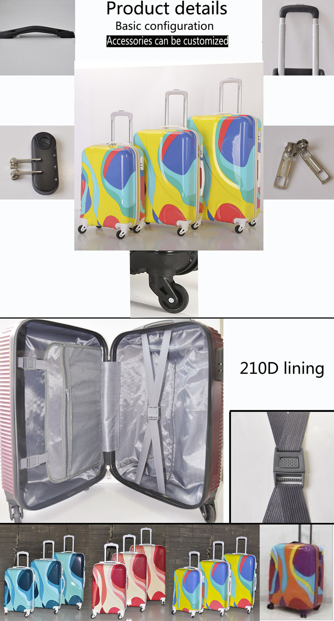 2019 popular abs hand travel carryon luggage trolley suitcase bag set