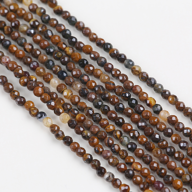 Natural 2mm faceted round tiger eye stone beads