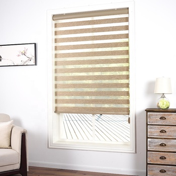 For Office Sliding Doors Dubai Blackout Window Treatment Valance Dual Layer Sheer or Privarcy Zebra Blinds