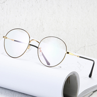 Round Comfortable Light Glasses Classic Thin Frame Alloy Optical Reading Glasses