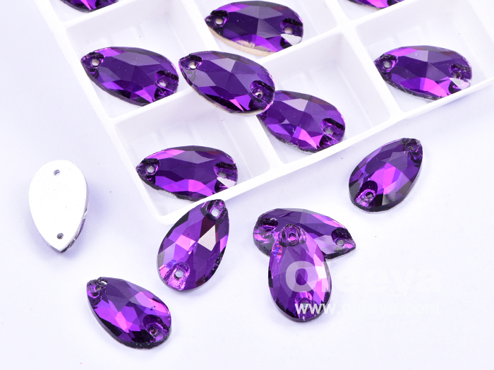 Hot Popular New Purple Teardrop Flatback Glass Sew on Rhinestones for Clothes
