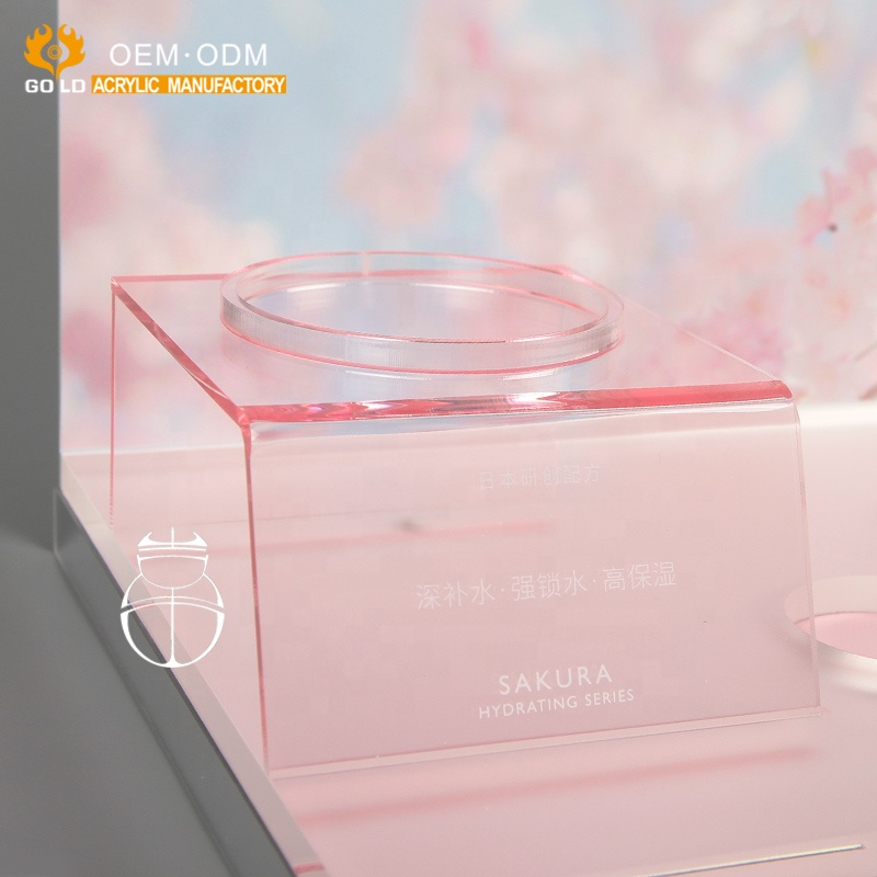custom theme acrylic cosmetic display showcase for counter top