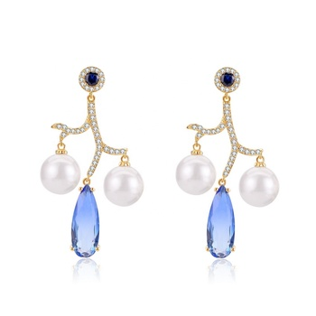 Factory Wholesale Trending Fashion Jewelry Pearl Synthetic Sapphire Waterdrop Dangling Pendant Charm Earrings Novel Design