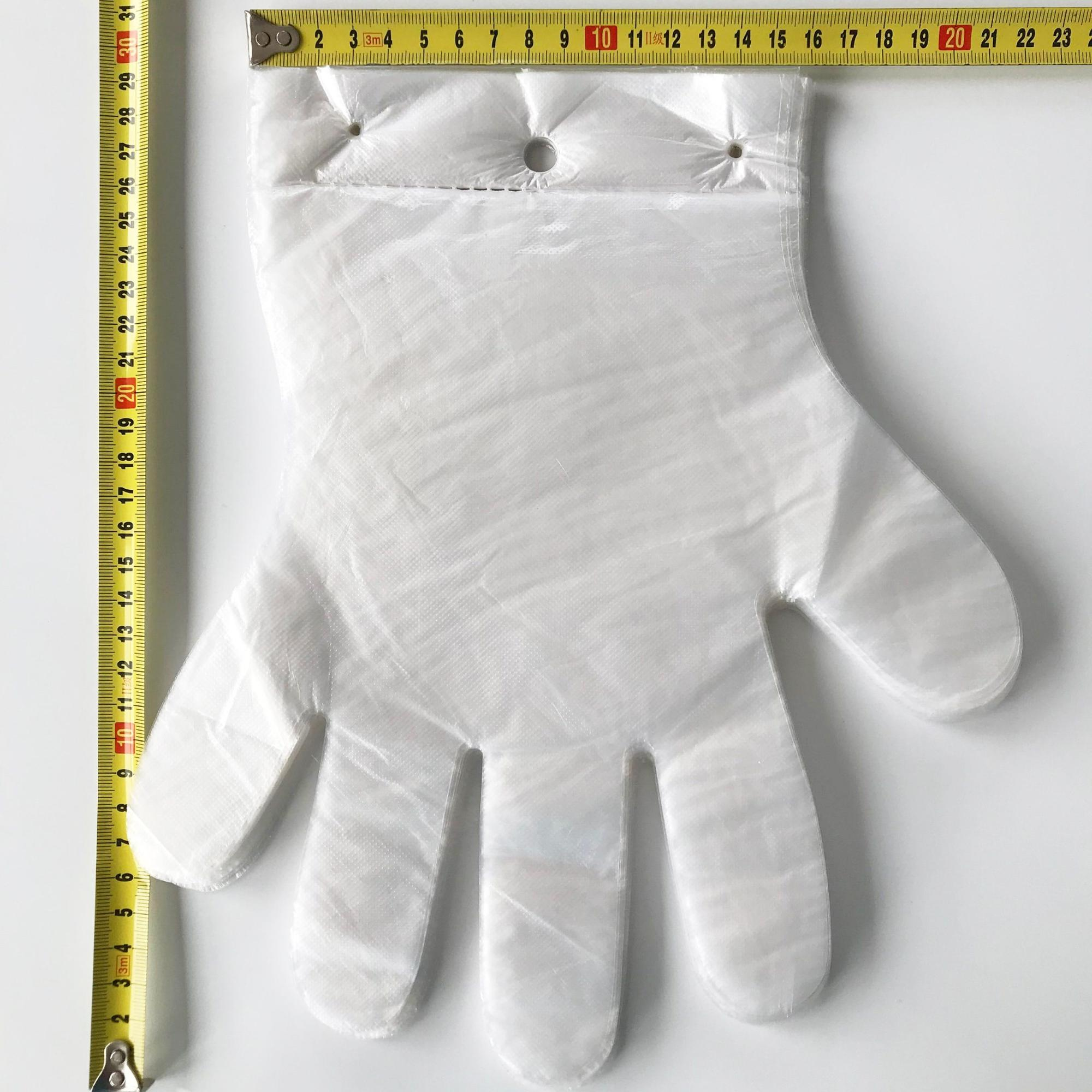 Anti-slip with eyelet in pack 0.7g glove transparent HDPE cleaning disposable glove eco food plastic PE gloves with hole