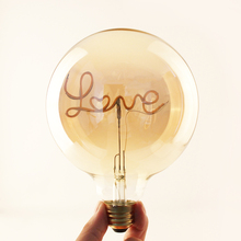 LED filament bulb with customized letter word Love Home Dream Hello E27 E26 B22 Base 4w clear&gold glass decorate bulb