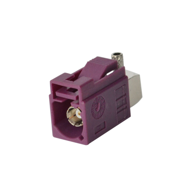 Best Quality Fakra Female <strong>D</strong> Type Purple Connector elbow/90 degree Right Angle Adapter for RG174/RG316 Cable Assembly or Antenna