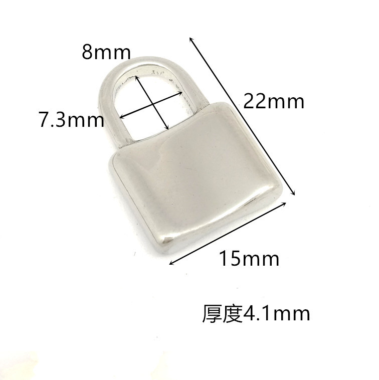 Top Grade DIY Fashion Stainless Steel Punching Casting Lock Shaped Charm Pendant Bracelet Accessory