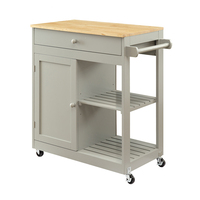 Portable Movable Rolling Kitchen Trolley Solid Rubber Wood Top Kitchen Island Cart