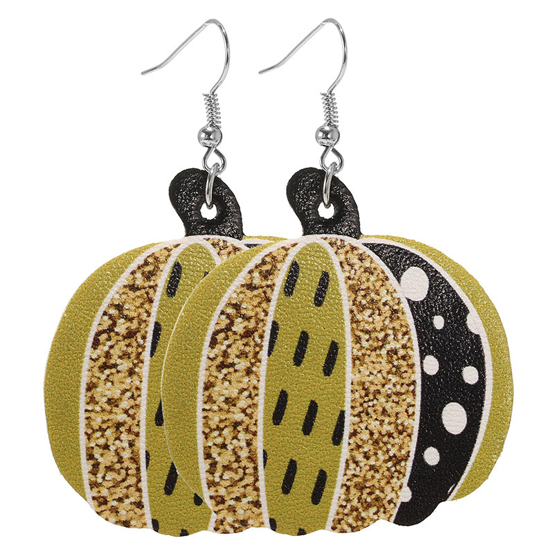 Latest 2020 Autumn Leopard Pumpkin Leaf Leather Drop Earring Stylish Holiday Earring