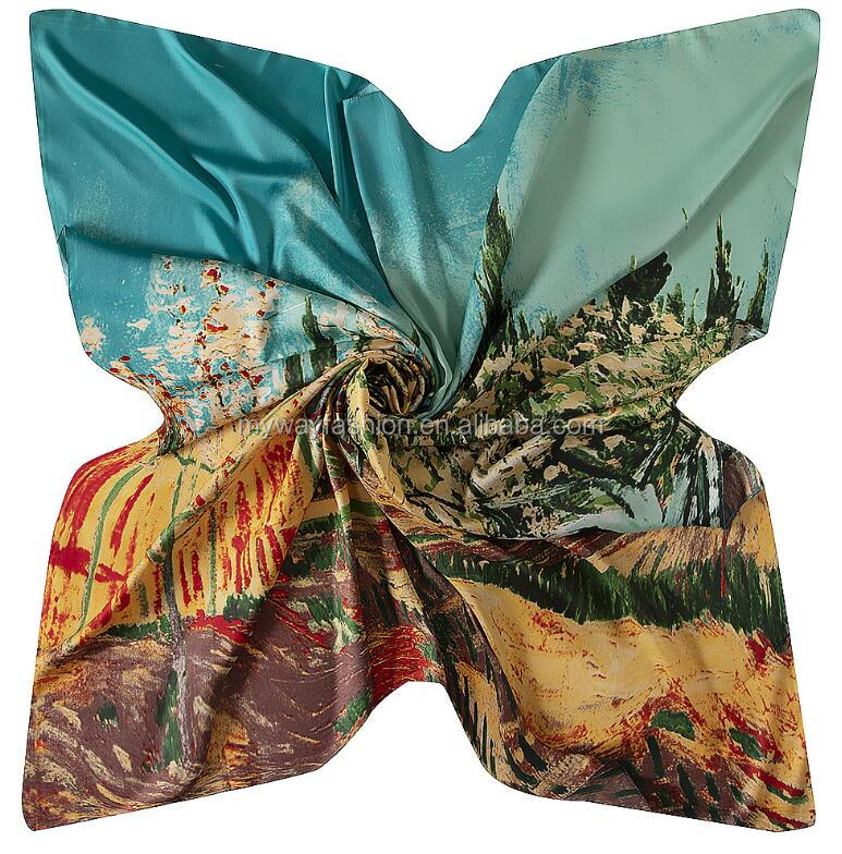 fashion soft square wrap lady shawl silk scarf