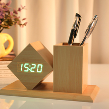 high quality and hot selling led wooden clock desk wooden <strong>pen</strong> <strong>holder</strong> with snooze function