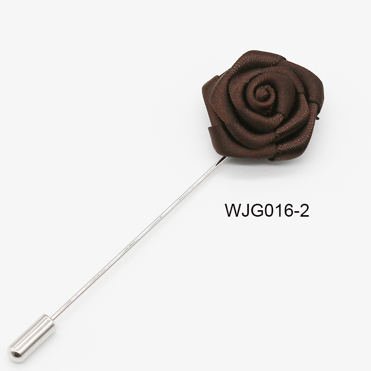 Fashion Classic Fabric Handmade Long Lapel Pins High Quality Rose Pin for Men