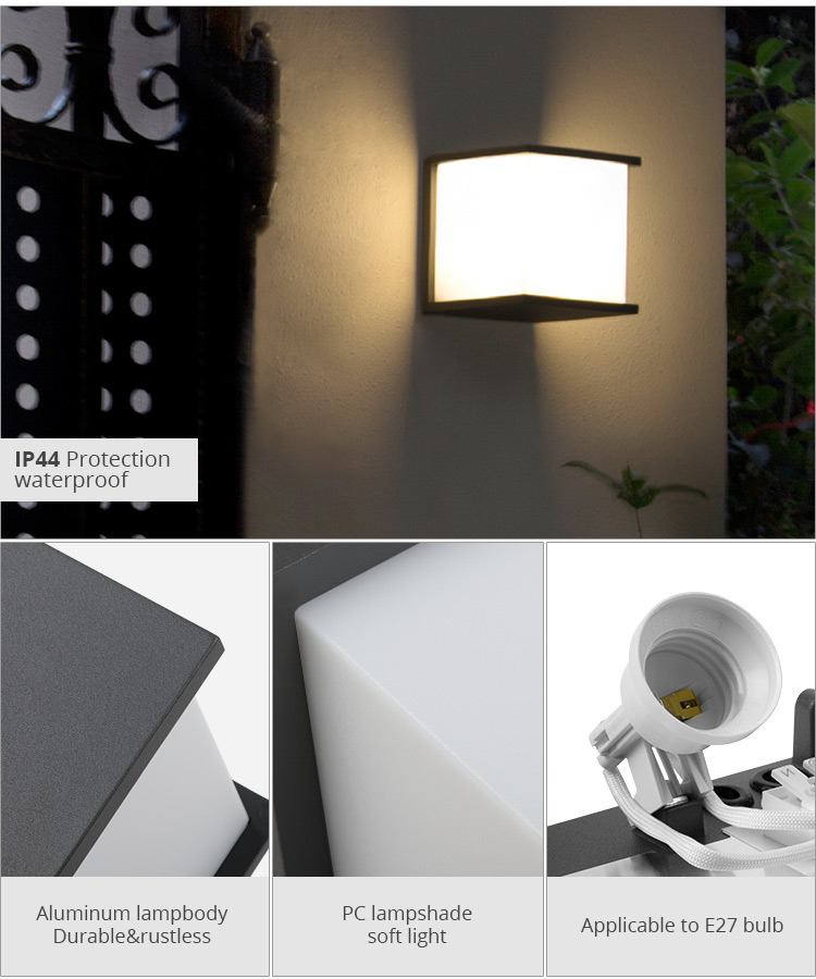 Savia square aluminium PC wall light waterproof IP44 E27 grey wall mounted Led light garden outdoor wall lamps for balcony aisle