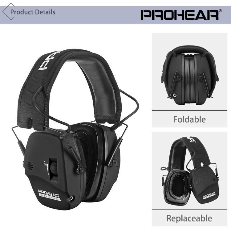 EM036 Gel cushion Premium Ear Defender Gun Ear Muffs Electronic Protection for Shooting