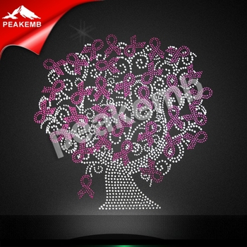 hotfix Garment Applique Breast Cancer Awareness afro Rhinestone heat transfer