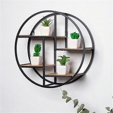 Retro creative iron rack living room wall hanging home decor wood wall <strong>shelf</strong>
