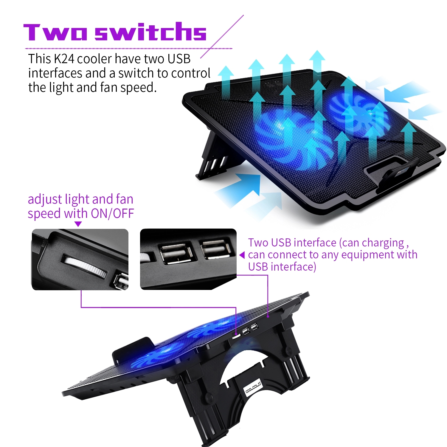 10-15.6 inch Gaming Laptop Cooler Cooling Pad 2 Quiet Fans Heights Adjustment 2 USB Port and Blue LED Light