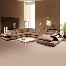 <strong>Modern</strong> genuine leather living room divano a forma di u leather corner sofa set