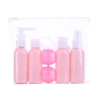 Hot Sale Pink Shampoo Lotion Cosmetic Personal Care Custom Travel Kit With Bag