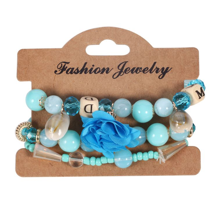 2020 New Fashion Jewelry Bracelet Sets Handmade Bohemia Style Crystal Beaded Bracelet Set With Silk Flower