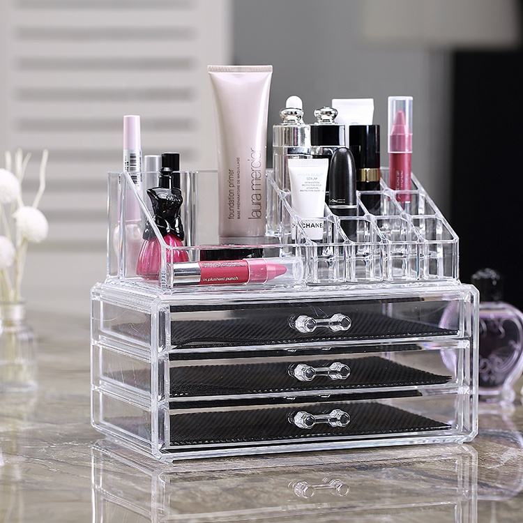 Popular 3 tier Clear Sliding Lid Compartment Acrylic makeup organizer <strong>plastic</strong>