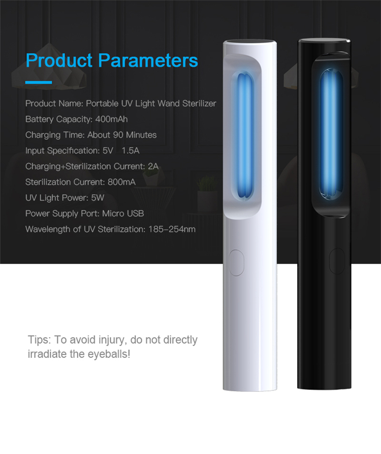 Factory wholesale uvc ultraviolet light portable uv light sterilizer