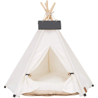 All White Washable Christmas Pet Toy Dog and Cat Beds With Mat and Five Sticks Teepee Tent