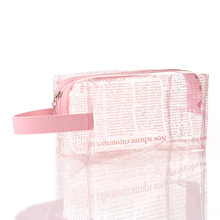 S43 2019 Classic StorageTravel Transparent <strong>Newspaper</strong> printPVC Creative Zipper Cosmetic <strong>Bag</strong> for Woman