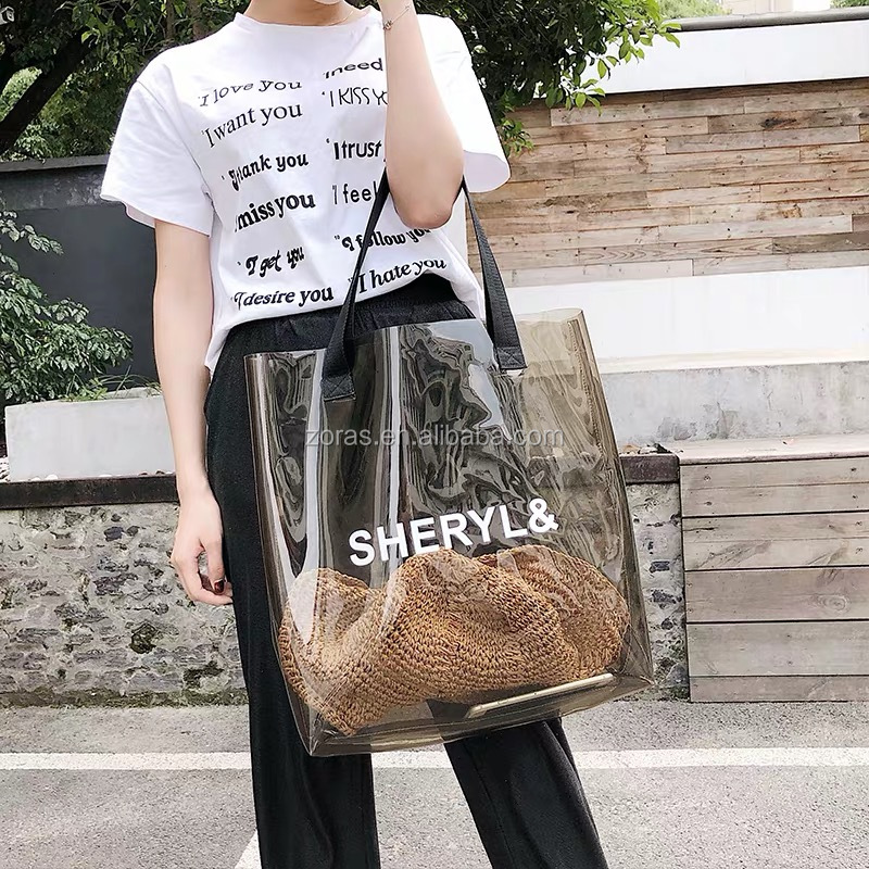 ZORAS Large Heavy Duty Transparent Shoulder Women Shopping PVC Beach Bag