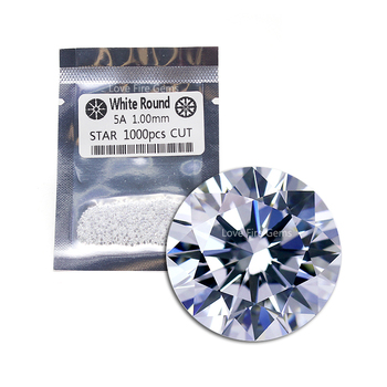 1000pcs/pack 1.0mm round white 5AAAAA european star cut loose cz gemstone cubic zirconia for jewelry making