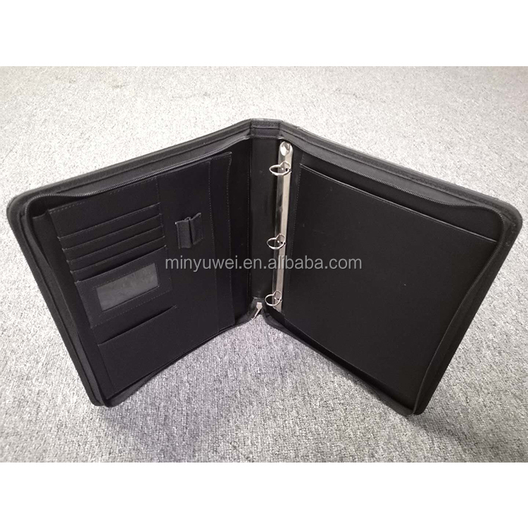 Custom high quality black PU leather men's A4 PU folder briefcase with leather handle