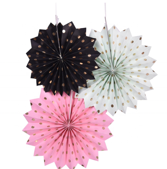 Paper Fans Decoration Hanging Paper Fans Decoration for Wedding Birthday Party gold dot fan