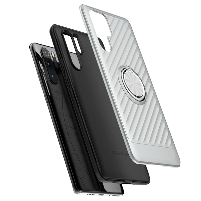 For Huawei P30 Pro Finger ring holder hard magnetic Silicone phone case with ring phone cases