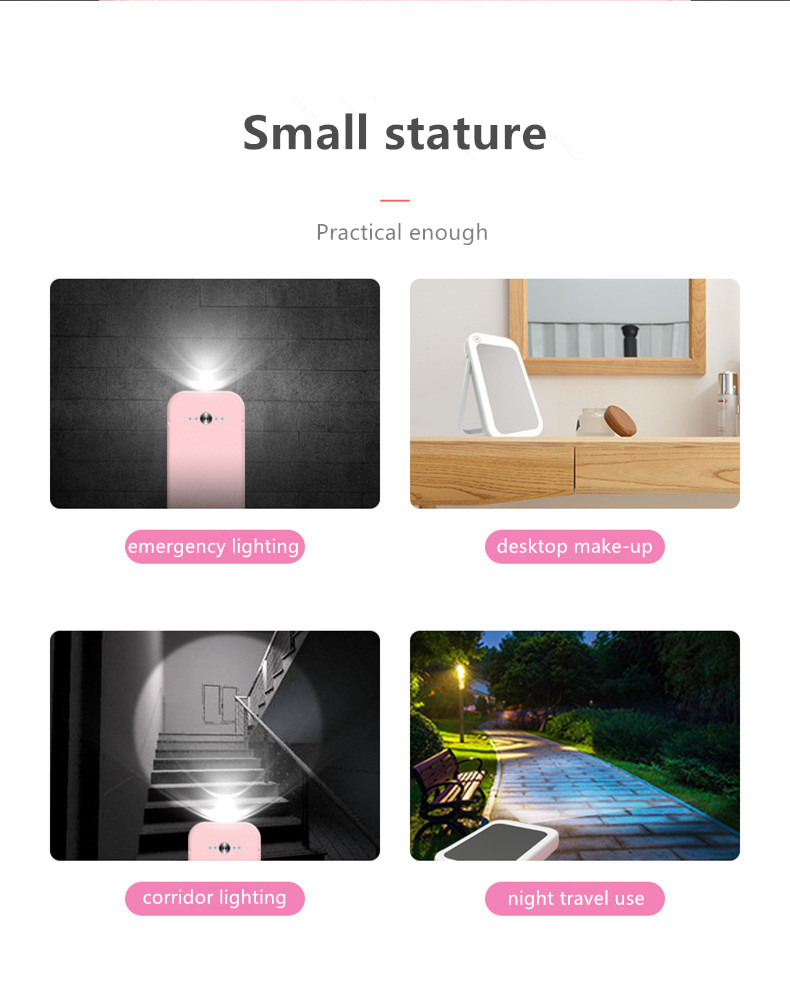 2020 Promotional Gift Power bank Led Light Table Makeup Mirror For Beauty Women