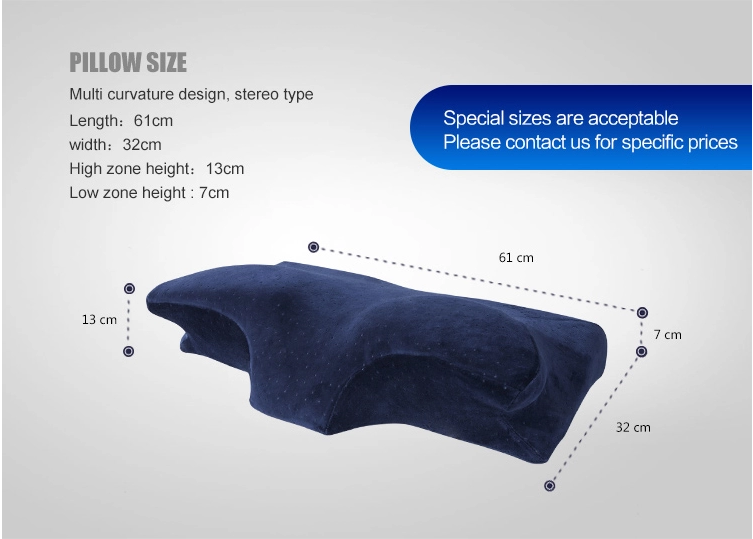 Contour Memory Foam Pillow, Bedding Hypoallergenic Bamboo Charcoal Neck Pillow Orthopedic Butterfly-Wings Shape Cervical Pillow