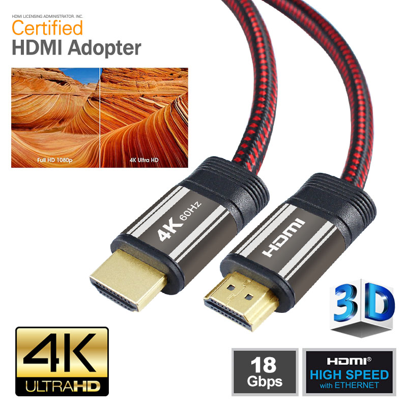 HDMI Cable  Ultra High Speed 3 Feet (1 Meters), Supports Ethernet, 4k, 2160P, 3D, 24K Gold Connector, Nylon Mesh Braided