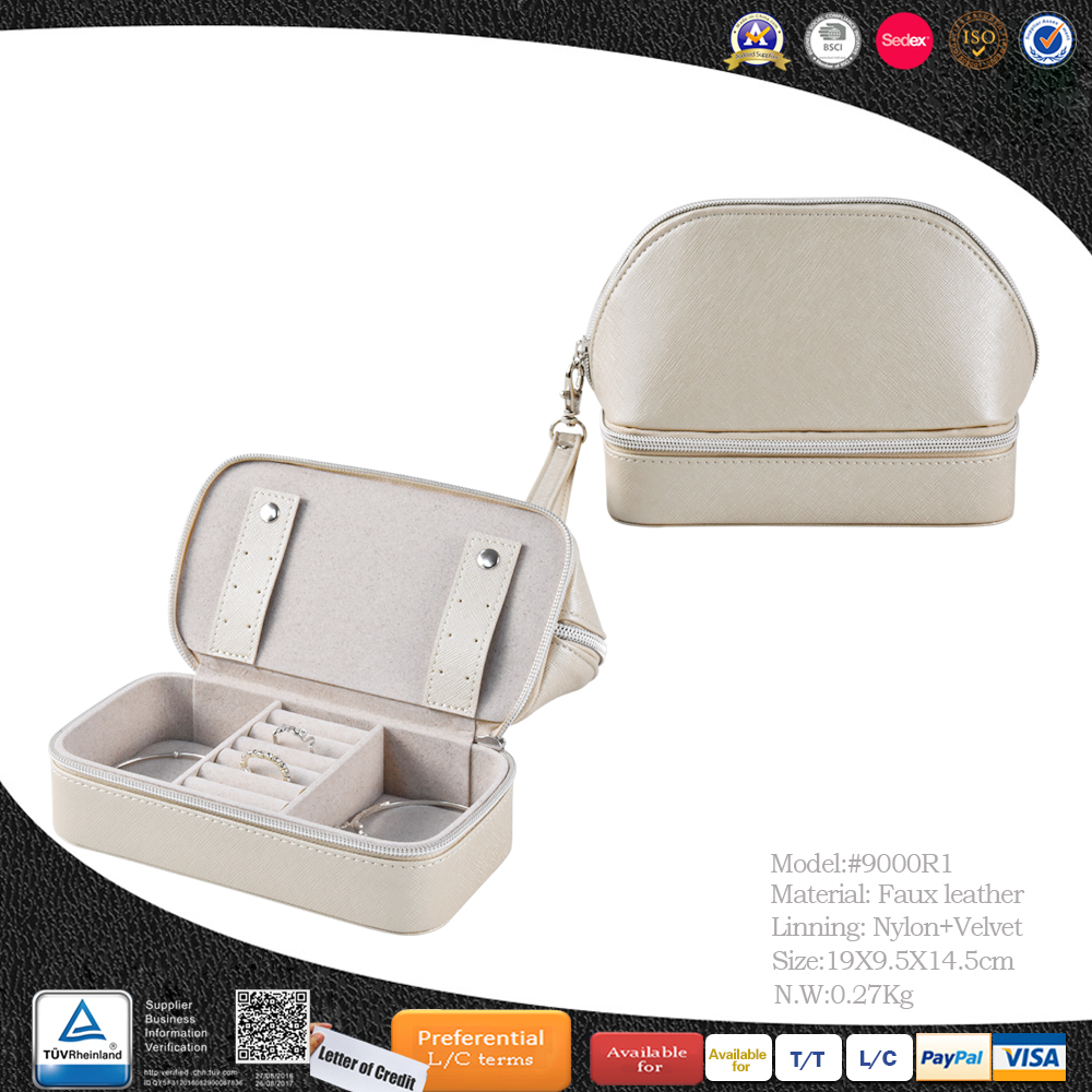 Wholesale custom logo PU leather velvet small travel storage gift ring packaging jewellery box