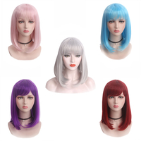 Short Bob Pink Purple Gray Red Wigs Straight Flat Bangs Synthetic Hair wig Blue Lavender wig for women