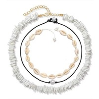 Handmade Hawaiian Fresh Water Pearl Collar Necklace Sets Natural White Puka Chip Shell Necklace for women men